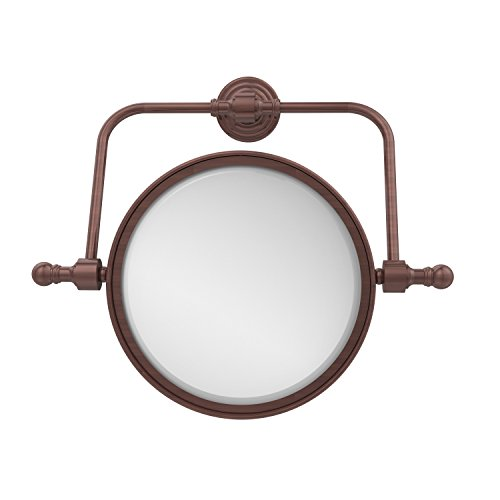 - Allied Brass RWM-4/2X-CA Retro Wave Collection Wall Mounted Swivel Make-Up Mirror 8 Inch Diameter with 2X Magnification, Antique Copper