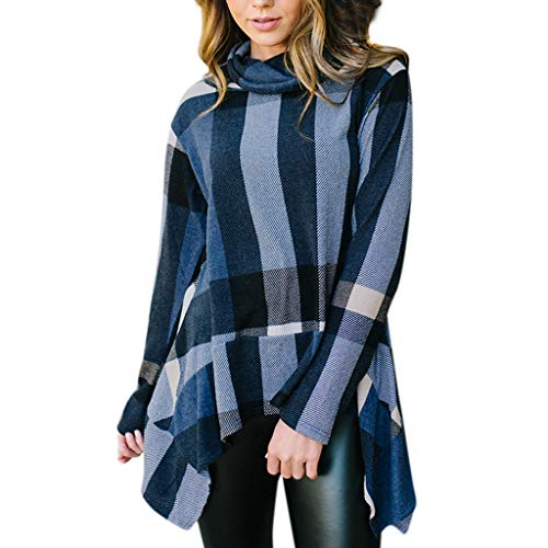 (Mnyycxen Women Fashionable Cowl Neck Plaid Strip Long Sleeve Pullover Irregular Ruffles Tops Blouse Shirt)