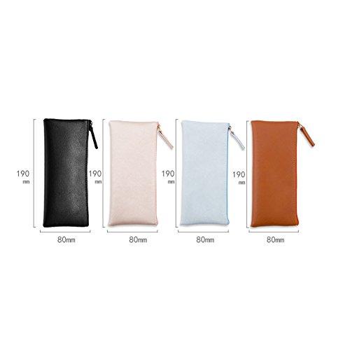 matita pezzi Aikesi moda tinta unita cosmetici semplice colori Sacchetto della con vari Zipper 4 Pu 19 cm 8 Hqx4ERzq