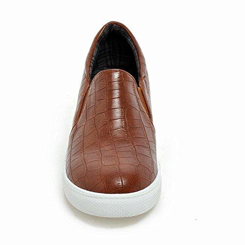 Carolbar Dames Steen Print Retro Mode Neutraal Comfort Verborgen Hak Loafers Schoenen Geel Bruin