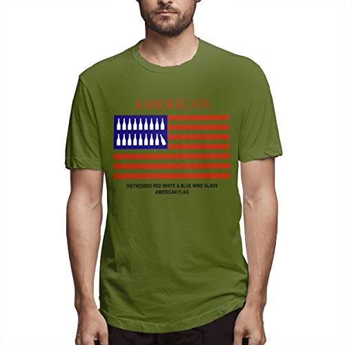 (Distressed Red White & Blue Wine Glass American Flag Men's Classic Cotton Short Sleeve Crew T-Shirt Moss Green XXL)