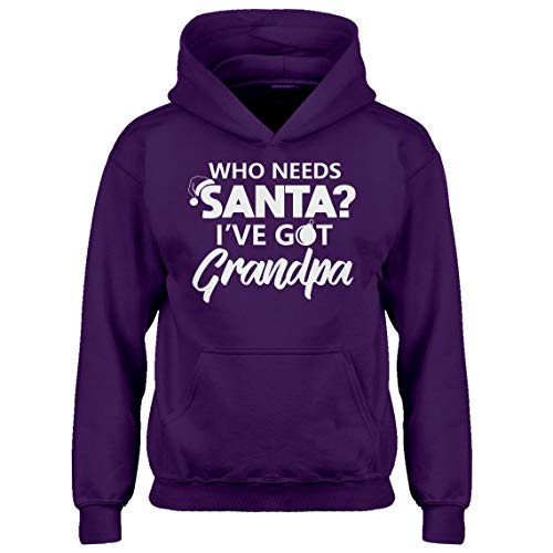 (Kids Hoodie Who Needs Santa? I've got Grandpa! Youth XL - (14) Purple Hoodie)