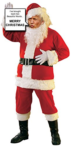 Donald Trump as Santa Claus Life Size Stand up Cardboard Cutout holding Sign]()
