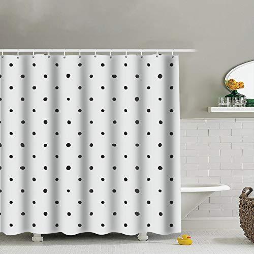 best bags Tile Black Polka Dots Dot Shower Curtain Set, Relaxing Summer Landscape Bathroom Decor,Shower Curtain Set Waterproof 60X72 -