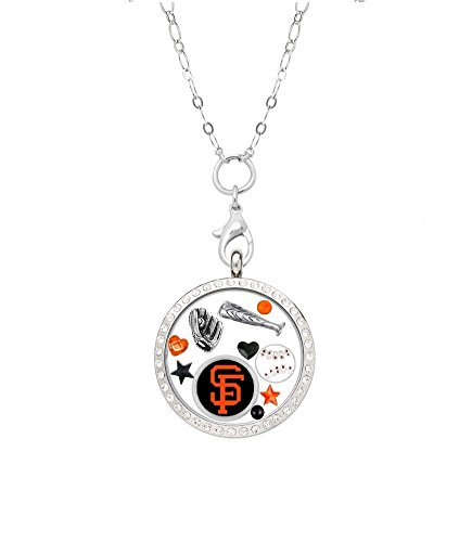 """San Francisco Giants Floating Locket on a 32"""" Stainless Steel Chain"""