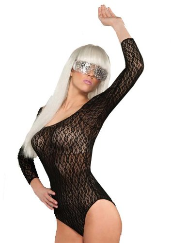 Lady Gaga Black Bodysuit Costume (Lady Gaga Adult Lace Bodysuit, Black, One Size)