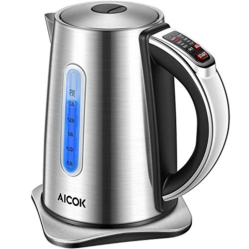 AICOK Electric Kettle Temp Electric Tea Kettle, Solid Stainless Steel Temperature Water Kettle with LED indicator, 1500W Cordless Electric Kettle 1.7-Liter Capacity Hot Water Kettle BPA-free
