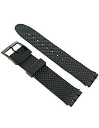 17mm Milano Rubber PVC Square Relief Black Replacement Watch Band for Standard Gents Swatch Watch