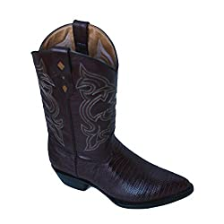 Cowboy Boot's Genuine Leather Lizard Print Cowboy Handmade Luxury Boots_Cognac_8