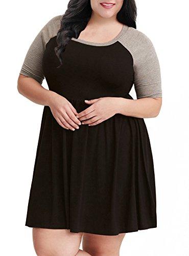 Nemidor Women's A-line Raglan Sleeves Plus Size Black Casual Skater Dress (Black+Grey, 16W)