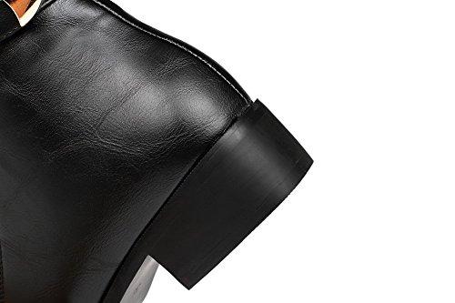 AllhqFashion Mujeres Cremallera Mini Tacón Sólido Caña Baja Botas con Metal Negro