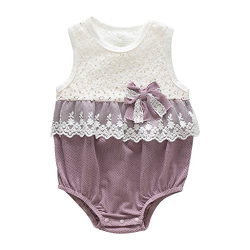 Zlolia Newborn Girls Patchwork Vest Romper Lace Ruffled Mesh Bow Tie Jumpsuit Summer Children Cute Clothing Purple