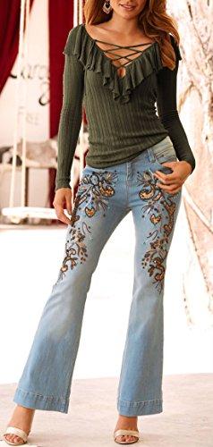 Unie Lotus Shirts OUFour T Jumper Hauts Couleur Printemps Col Slim Fashion Feuille C Vert V Longues Manches Blouse Tops t de Automne Tee et Chemisiers Femmes A7ARq