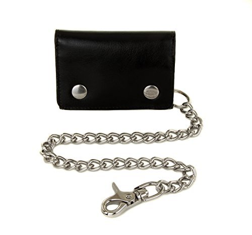 Mens Cowhide Leather Trucker Biker Trifold Steel Chain Wallet + Gift Box + Carabiner
