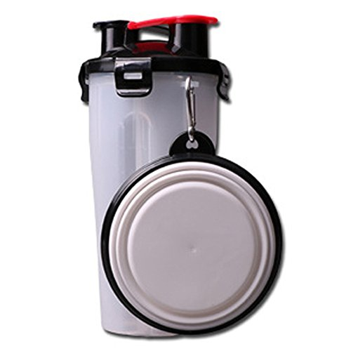 ELE-Jiaruila {2 in 1 } Travel Pets Water and Food Bottle with Bowl, Water Dispenser Portable Mug for Dogs,Cats and Other Small Animals (White) by ELE-Jiaruila