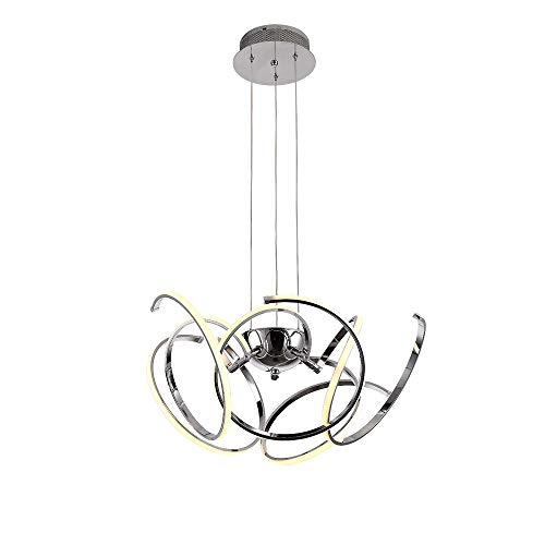 - Living Room 80W LED Pendant Light,Chandelier Stepless Dimming Ceiling Hanging Lights Aluminium Chrome Fixture,Cord Adjustable,WarmWhite