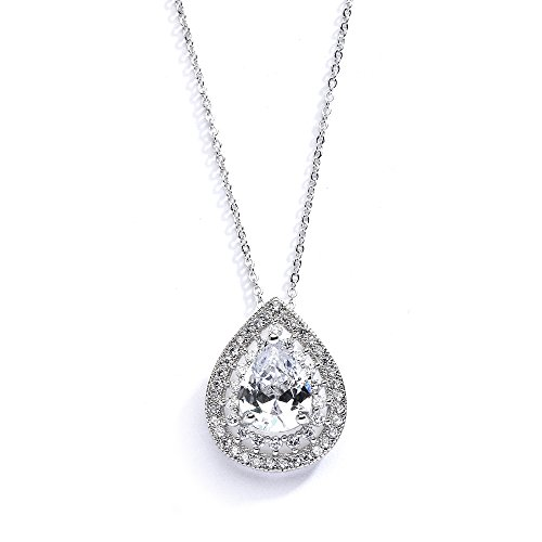 Mariell Pear-Shaped Solitaire Necklace Pendant for Brides - Vintage Wedding Bridal Jewelry