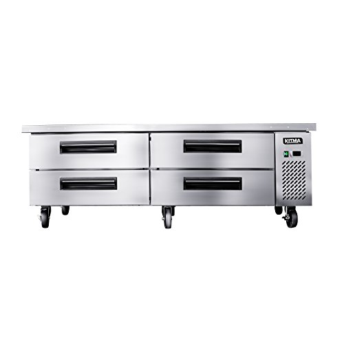 Commercial 4 Drawer Refrigerated Chef Base - KITMA 72 Inches Stainless Steel Chef Base Work Table Refrigerator - Kitchen Equipment Stand, 33 °F - 38°F (Refrigerated Equipment Stand)