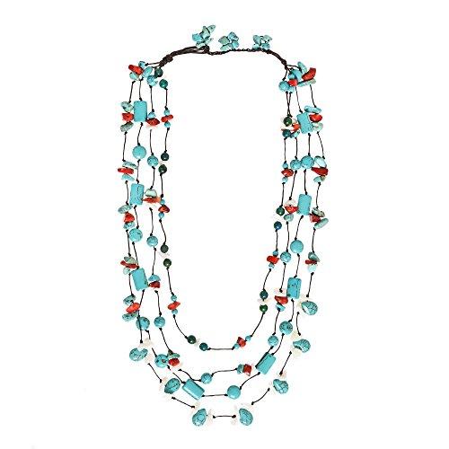 AeraVida Chic Multicolor Stone Handmade Layered (Coral Malachite Necklace)