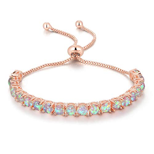 CiNily Adjustable Rose Gold Silver Plated Tennis Bracelet Created Opal - Fashion Jewelry Gifts for Women 4.3