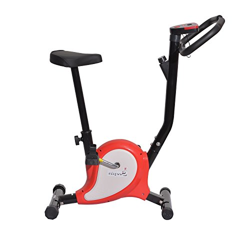 Soozier Upright Stationary Belt Indoor Exercise Bike - Black and Red