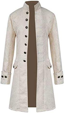 JustWin Men`s Steampunk Vintage Men`s Jacket Winter Warm Tailcoat Gothic Jacket Coat Men Buttons Coat