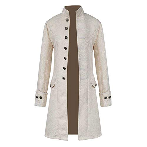 - Birdfly Men Cool Retro Steampunk Vintage Solid Jacket Gothic Gothic Frock Coat (3XL, White)