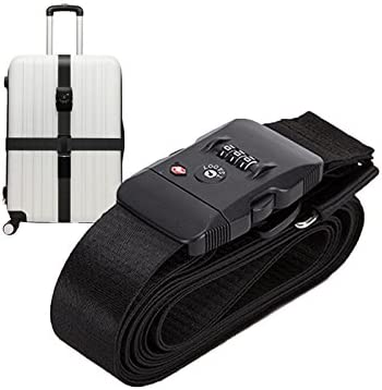 Elonglin Luggage Straps Suitcase Packing Belts Travel Accessories 1-Pack Adjustable Long Cross Luggage Packing Belt with TSA Password Lock Clip 20-34 Baggage Security Straps Black