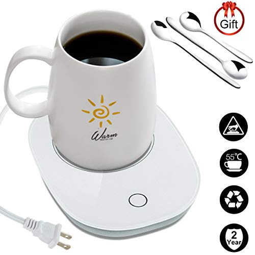 Coffee Mug Warmer with 3Pcs Stainless Steel Spoons Auto Shut Off Beverage Warmers