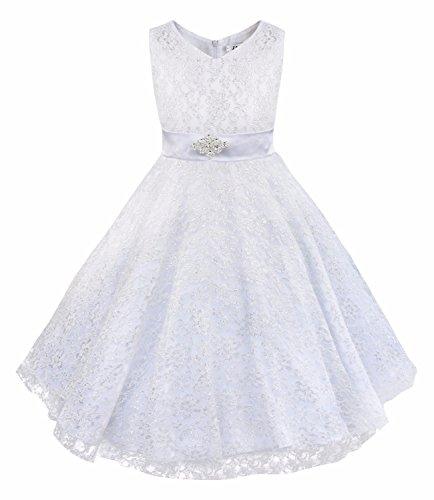 iEFiEL Kids Big Girls V-Neck Lace Flower Dress Graduation Pageant Ball Gown White 4 -