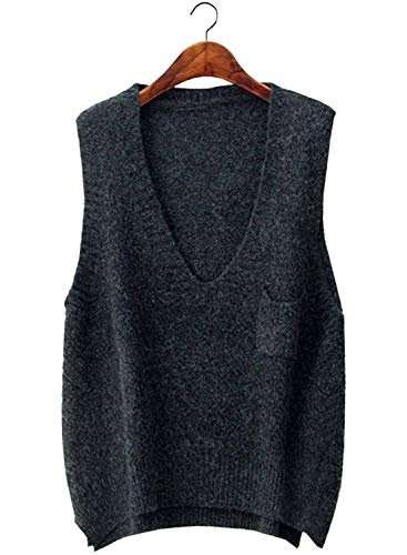 Doballa Women's Marled Boxy V Neck Sleeveless High Low Hem Sweater Vest Tops with Patch Pocket