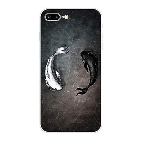 Aksuo Funda For iPhone 8 Plus TPU Anti-Rasgu/ño Anti-Golpes Cover Protectora Transparente Claro Caso Slim Silicona Case La Sombra del Gato es Tigre