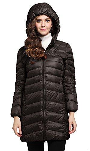 Length Knee Coat Nylon (Cloudy Arch Women's Winter Outwear Light Down Coat Hooded Jacket NCK, Coffee, US M, Asian XL)