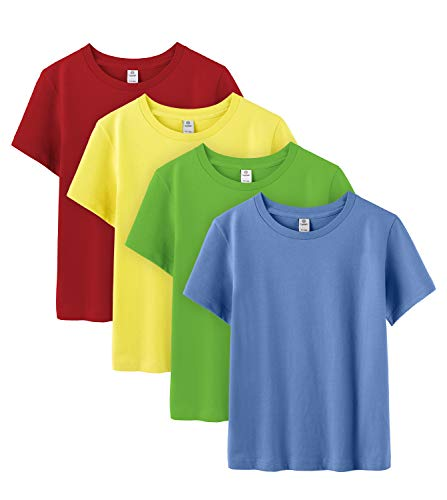 Childrens T-shirt Tee - LAPASA Basics - Pack of 4 Pure 100 Non-Allergenic Cotton T-Shirts for Boy & Girl, Short Sleeve (Unisex Tees) K01 (Diver Colors (Red, Green, Yellow, Blue), 8 / May 9.99$ / See Chart)