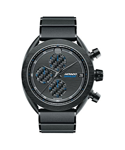 Men's Movado Parlee 0606843 Black PVD-Finished Titanium Case and Link Bracelet.