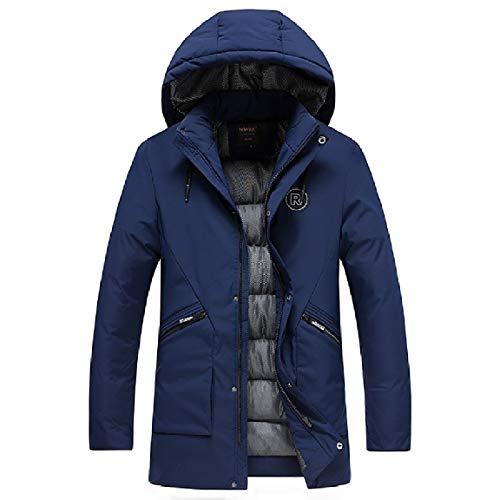 Parka Pockets Length Mid MogogoMen Dark Blue Thickening Solid Down Hood tqwwpS0