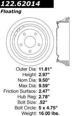 Centric Parts 122.62014 Brake Drum Power Slot