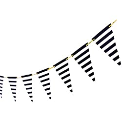 10 Feet Paper Banner Flags Party Supplies Triangle Banner 15pcs Flags Pennant Black-and-White Stripes for Baby Shower Birthday Party Wedding Pirate Theme Party Decoration