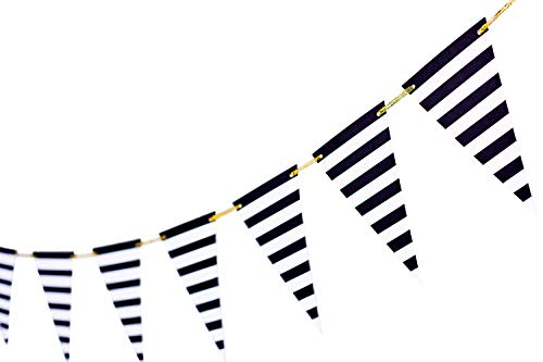 (10 Feet Black Striped Banner Black and White Decoration University Graduation Supplies Triangle Garland Flags Black and White Party Supplies Banner for Birthday Party Nursery Decor 15pcs)