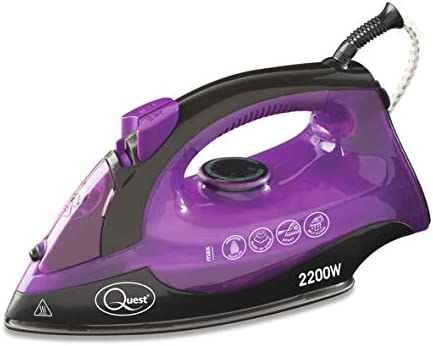 Quest 35360 Professional Steam Iron | Variable Temperature | Non-Stick Soleplate and Self Clean Function | 2200 W | Purple [Energy Class A], Plastic, 1600 W