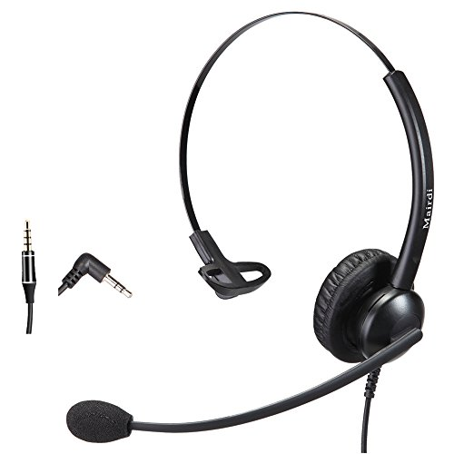 2.5mm Headset for Telephone Call Center Single Ear with Noise Cancelling Microphone Jabra Compatible with Cisco Polycom Panasnics Plus 3.5mm Connector for Cell Phone Apple iPhone Samsung Huawei