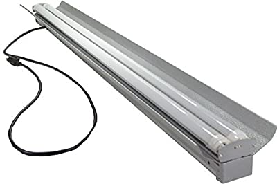 Grey 48 Watt Hanging 4 foot 2-light Shop light with Pull Chain - 2x LED T8 24W Tubes - 6500K - 30% Brighter than 18w LEDs