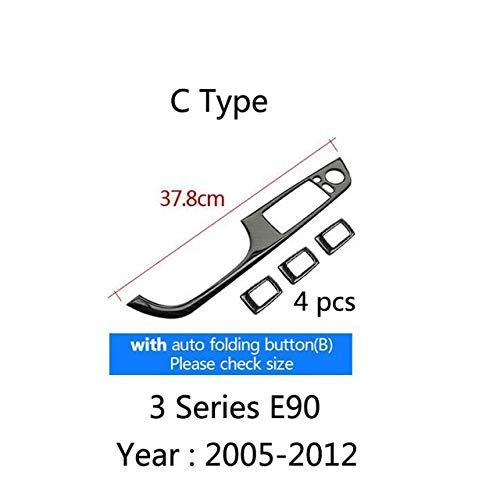 C Type 4 Pcs Set Carbon Fiber Car Interior Decoration Door Window Switch Cover Trims for BMW E90 F30 LHD 20052019 3 Series Accessories  (color Name  G Type)
