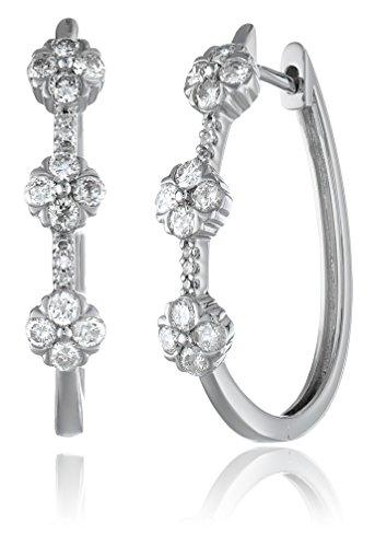 10k White Gold 3 Stone Diamond Hoop Earrings (1cttw, I-J ...