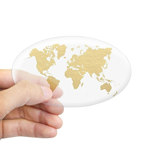 CafePress - Gold World Map Sticker - Oval Bumper Sticker, Euro Oval Car (Euro Map)