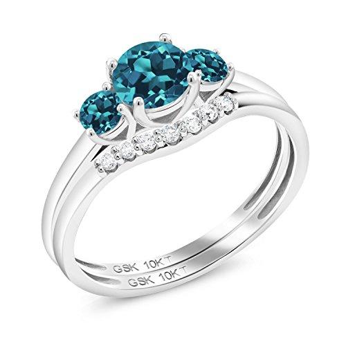 Gem Stone King 0.83 Ct Round London Blue Topaz 10K White Gold Lab Grown Diamond 3-Stone Bridal Engagement Wedding Ring Set (Size 5)