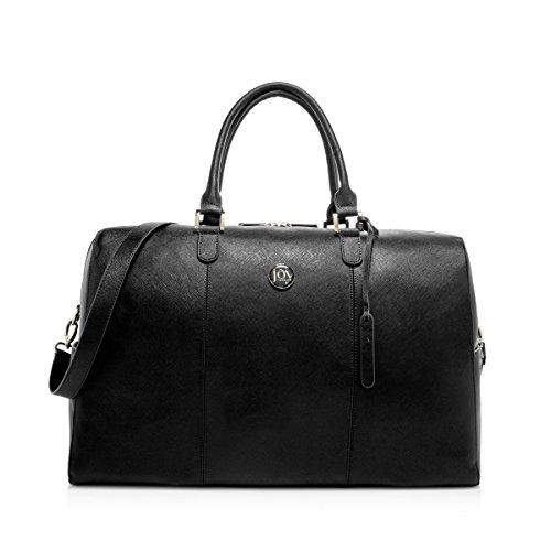 Joy Mangano Women's Jm Metallic Leather Weekender Black Onyx Carry-On Luggage, One Size