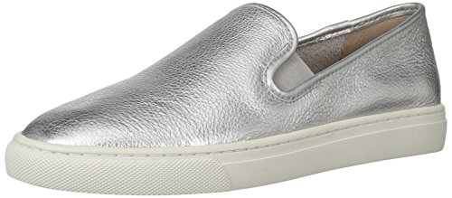 (206 Collective Women's Cooper Perforated Slip-on Fashion Sneaker, Silver Leather, 11 B US)