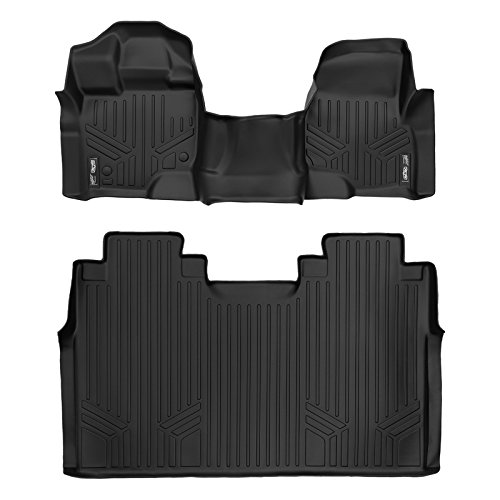 MAXFLOORMAT Floor Mats 2 Row Set Black for 2015-2018 Ford F-150 SuperCrew Cab With 1st Row Bench Seat (Bench Floor)