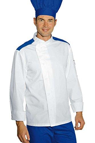 Isacco - Veste Chef Cuisinier Malaga Blanc Bleu Cyan Polycoton